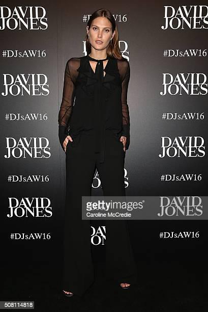 Catherine McNeil arrives ahead of the David Jones Autumn/Winter 2016 Fashion Launch at David Jones Elizabeth Street Store on February 3 2016 in...
