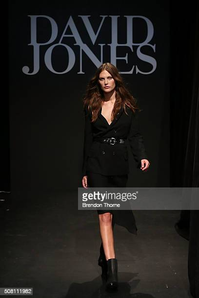 Catherine McNeil showcases designs by Bassike during rehearsal ahead of the David Jones Autumn/Winter 2016 Fashion Launch at David Jones Elizabeth...