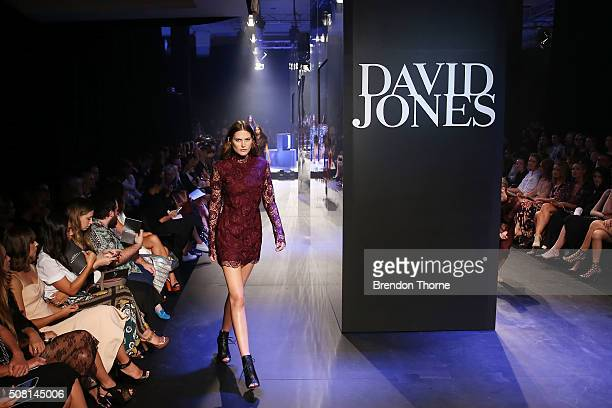 Catherine McNeil showcases designs by Manning Cartell on the runway at the David Jones Autumn/Winter 2016 Fashion Launch at David Jones Elizabeth...