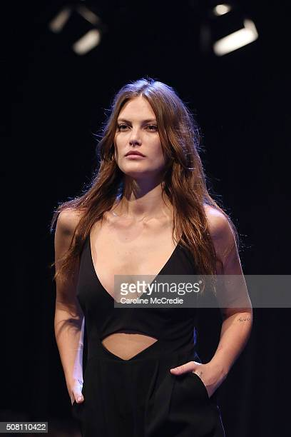 Catherine McNeil showcases designs by Rebecca Vallance during rehearsal ahead of the David Jones Autumn/Winter 2016 Fashion Launch at David Jones...