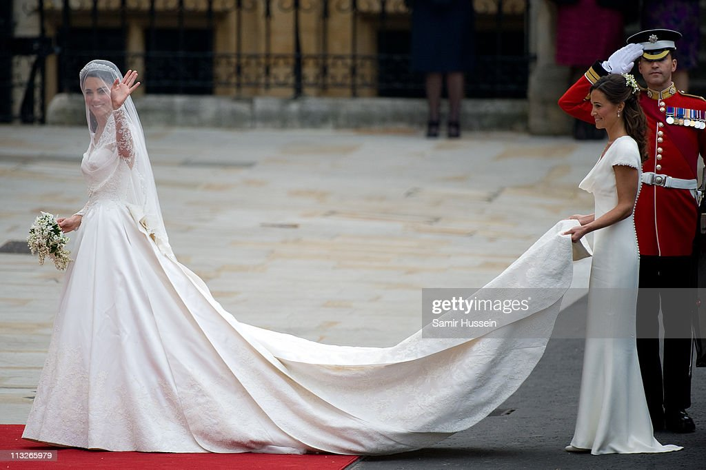 Catherine Middleton and her sister and Maid of Honour Pippa Middleton arrive for the Wedding of Prince William and Catherine Middleton at Westminster Abbey on April 29, 2011 in London, England.