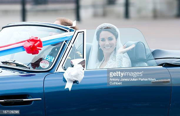 Catherine Middleton And Prince William Leave Buckingham Palace In His Fathers Aston Martin