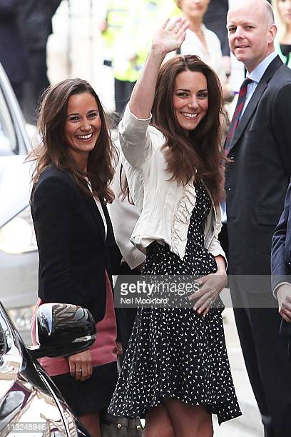 Catherine Middleton and sister Pippa Middleton arrive at the Goring Hotel on April 28 2011 in London England