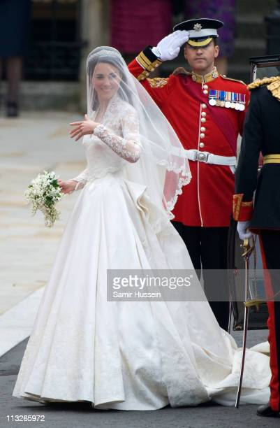Catherine Middleton arrives for the Wedding of Prince William and Catherine Middleton at Westminster Abbey on April 29 2011 in London England