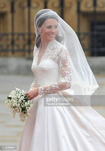 Catherine Middleton arrives to attend the Royal Wedding of Prince William to Catherine Middleton at Westminster Abbey on April 29, 2011 in London,...