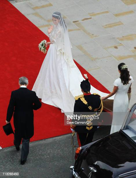 Catherine Middleton arrives with her father Michael Middleton and Maid of Honour Pippa Middleton to attend her Royal Wedding to Prince William on...