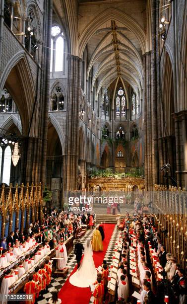 Catherine Middleton is led down the aisle by her father Michael Middleton at Westminster Abbey on April 29 2011 in London England The marriage of...