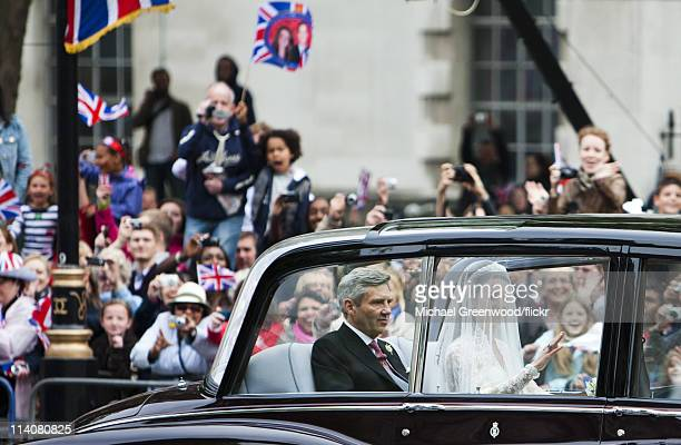 Catherine Middleton travels to Westminster Abbey for her marriage to Prince William accompanied by her father Michael Middleton on April 29, 2011 in...