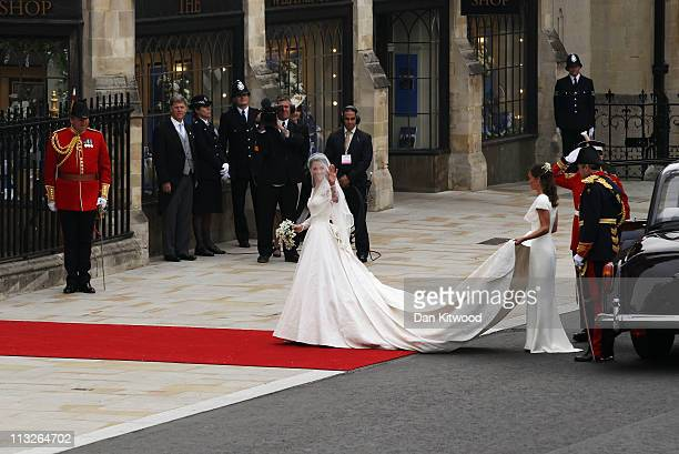 Catherine Middleton waves as she arrives to attend the Royal Wedding of Prince William to Catherine Middleton at Westminster Abbey on April 29 2011...