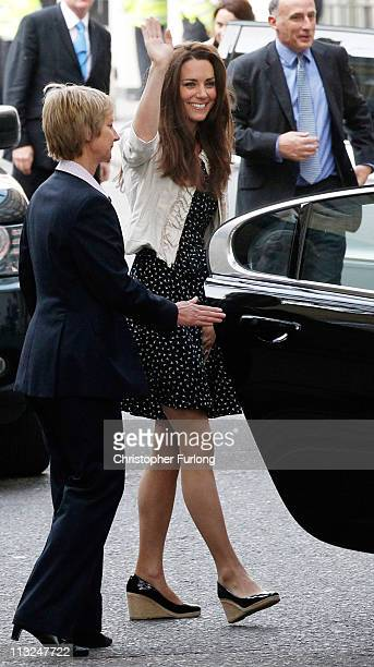 Catherine Middleton waves to the crowds as she arrives at The Goring Hotel after visiting Westminster Abbey on April 28, 2011 in London, England....