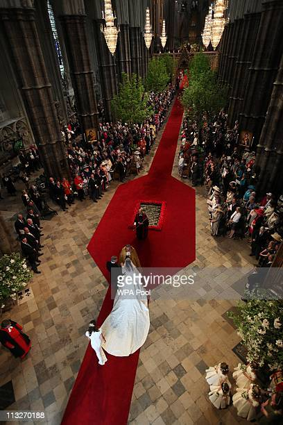 Catherine Middleton with her Father Michael Middleton and Bridesmaids arrive in Westminster Abbey for her Royal Wedding to Prince William at...