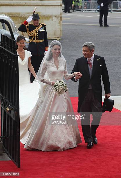 Catherine Middleton with her father Michael Middleton arrives to attend her Royal Wedding to Prince William at Westminster Abbey on April 29 2011 in...