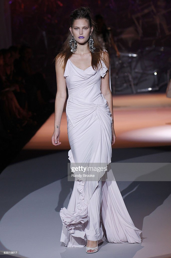 Catherine NcNeil wearing Zac Posen Spring 2009 at The Tent in Bryant Park on September 11, 2008 in New York City.