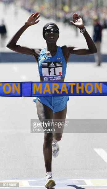 Catherine Ndereba of Kenya crosses the finish line to win the women's race of the 109th running of the Boston Marathon 18 April 2005 in Boston MA AFP...