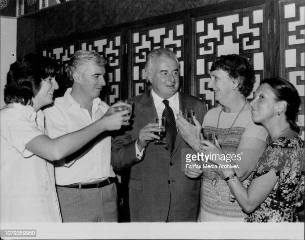 Catherine Nicholas Gough Margaret and Judy WhitlamPicture taken tonight of Mr Gough Whitlam and family who dined with press and staff of his...