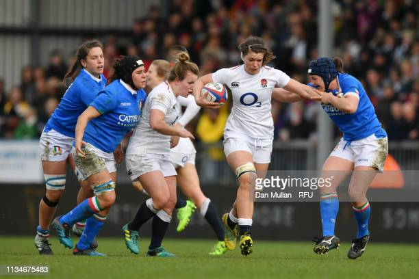 Catherine O'Donnell of England makes a break with the ball during the Womens Six Nations match between England and Italy at Sandy Park on March 09...