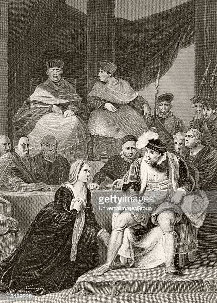 Catherine Of Aragon kneeling before her husband King Henry VIII of England at the trial of their marriage From The National and Domestic History of...