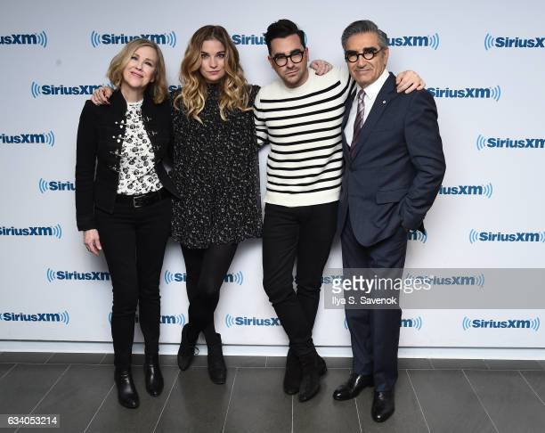 Catherine O'Hara Annie Murphy Daniel Levy and Eugene Levy visit the SiriusXM Studio on February 6 2017 in New York City