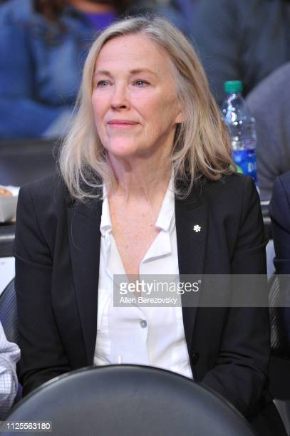 Catherine O'Hara attends a basketball game between the Los Angeles Lakers and the Phoenix Suns at Staples Center on January 27 2019 in Los Angeles...