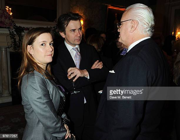 Catherine Ostler, Albert Read and Manolo Blahnik attend the Nancy Mitford 'Wigs on the Green' reissue party held by Catherine Ostler and the Dowager...