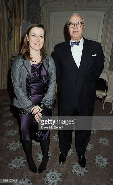 Catherine Ostler and Manolo Blahnik attend the Nancy Mitford 'Wigs on the Green' reissue party held by Catherine Ostler and the Dowager Duchess of...