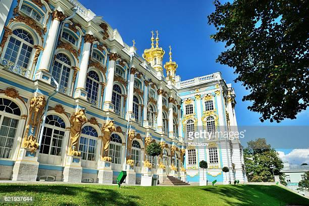 catherine palace in pushkin, tsarkoje selo, russia. - palácio - fotografias e filmes do acervo