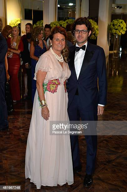 Catherine Pastor and son attend the Monaco Red Cross Gala on July 25 2015 in MonteCarlo Monaco