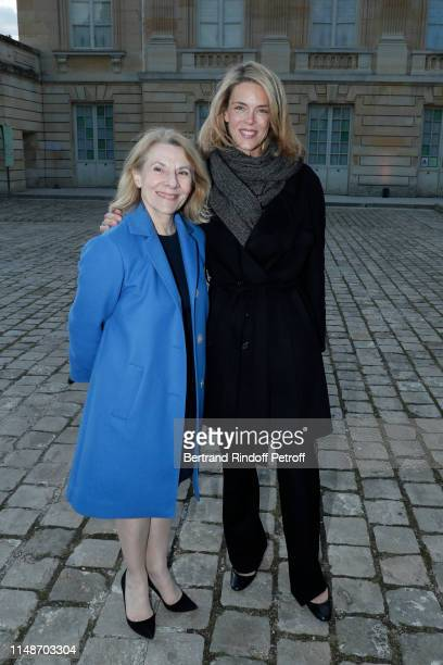 Catherine Pegard and TV presenter Julie Andrieu attend the Visible Invisible Exhibition at Chateau De Versailles on May 12 2019 in Versailles France