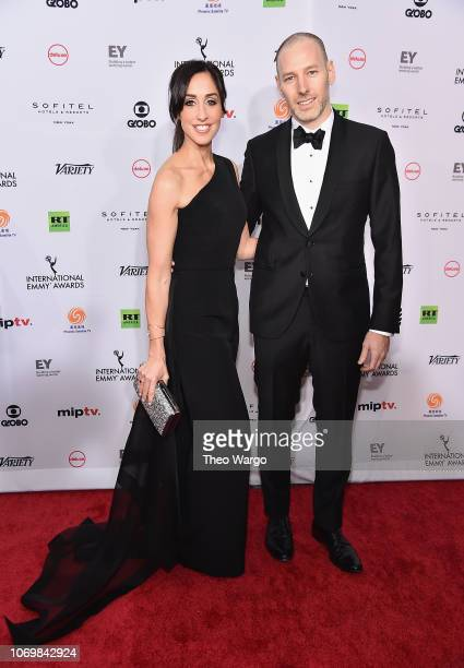 Catherine Reitman and Phillip Sternberg attend the 46th Annual International Emmy Awards Arrivals at New York Hilton on November 19 2018 in New York...