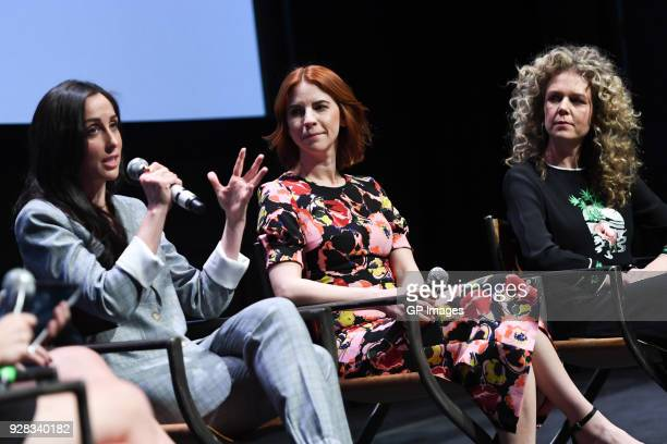 """Catherine Reitman, Dani Kind and Juno Rinaldi attend CBC Presents: A Night Out With """"Workin Moms"""" at TIFF Bell Lightbox on March 6, 2018 in Toronto,..."""
