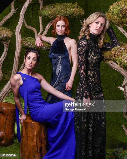 Catherine Reitman Dani Kind and Juno Rinaldi pose in the 2018 Canadian Screen Awards Broadcast Gala Portrait Studio at Sony Centre for the Performing...