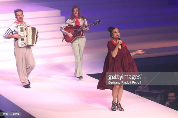 Catherine Ringer and her son Raoul Chichin perform during the JeanPaul Gaultier Haute Couture Spring/Summer 2020 show as part of Paris Fashion Week...