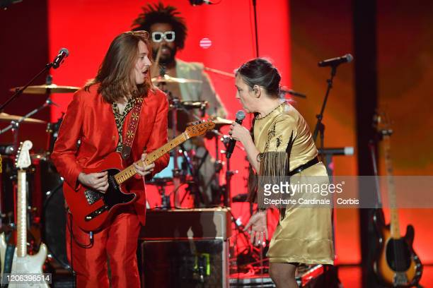 Catherine Ringer and his son Raoul Chichin perform during the 35th 'Les Victoires De La Musique' Show At La Seine Musicale on February 14 2020 in...