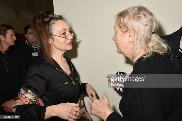 Catherine Ringer from the Rita Mitsouko band and Agnes B attend the Agnes B show as part of the Paris Fashion Week Womenswear Fall/Winter 2017/2018...