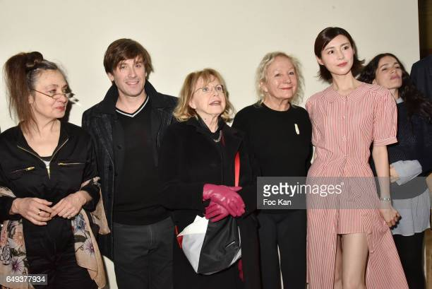 Catherine Ringer from the Rita Mitsouko band Thomas Dutronc Bulle Ogier Agnes B and Lu Shan attend the Agnes B show as part of the Paris Fashion Week...