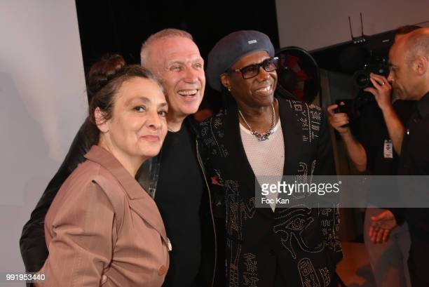 Catherine Ringer Jean Paul Gaultier and Nile Rodgers attend the JeanPaul Gaultier Haute Couture Fall Winter 2018/2019 show as part of Paris Fashion...