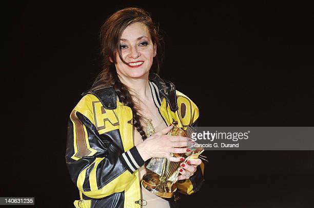 Catherine Ringer receives an award during 'Les Victoires de La Musique 2012' at Palais des Congres on March 3 2012 in Paris France