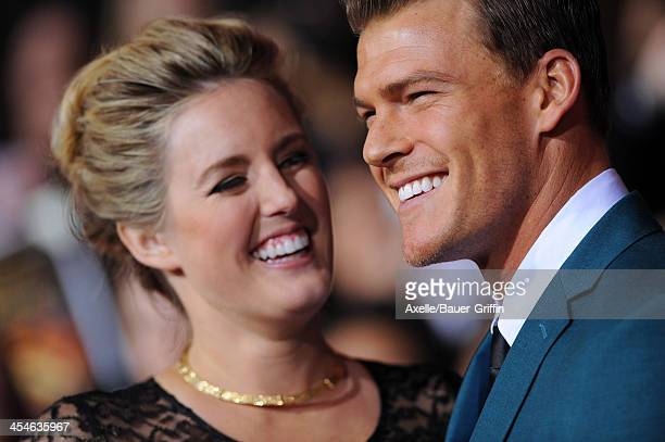 Catherine Ritchson and actor Alan Ritchson arrive at the Los Angeles Premiere of 'The Hunger Games Catching Fire' at Nokia Theatre LA Live on...