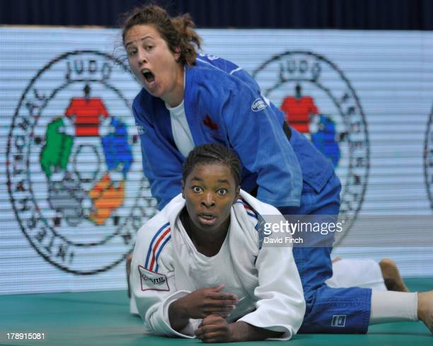 Catherine Roberge of Canada threw former world champion, Audrey Tcheumeo of France, for ippon to reach the u78kgs semi-final during the Rio World...