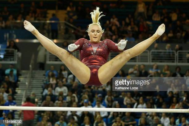 Catherine Rogers of Stanford competes in the uneven parallel bars during a meet against UCLA at Pauley Pavilion on March 10, 2019 in Los Angeles,...