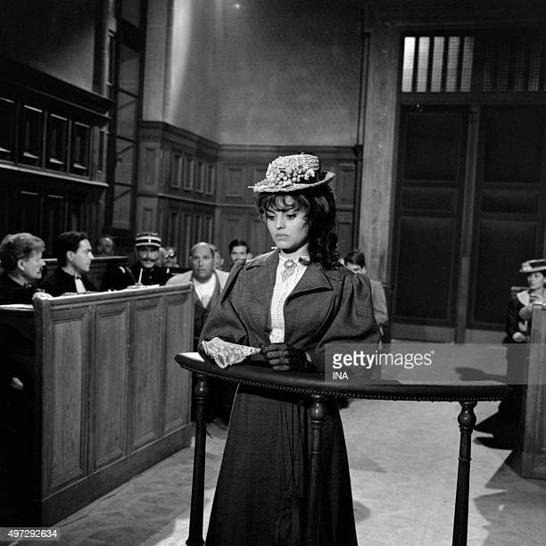 Catherine Rouvel in the bar of a court in a scene of the drama The Mystery of the yellow bedroom realized by Jean Kerchbron according to Gaston...
