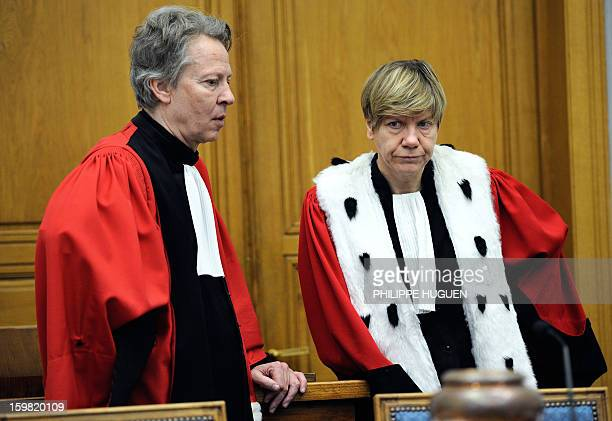 Catherine Schneider president of the regional criminal court and Luc Fremiot substitute general at the appeals court arrive to preside a hearing at...