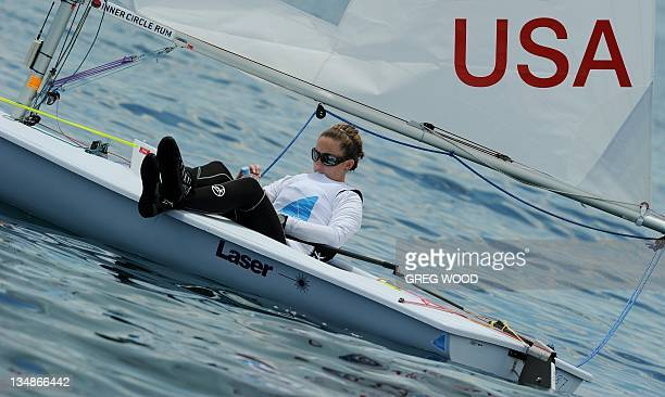 Catherine Shanahan of the US waits for a start due to lack of wind in the women's laser radial event at the ISAF World Sailing Championships off...