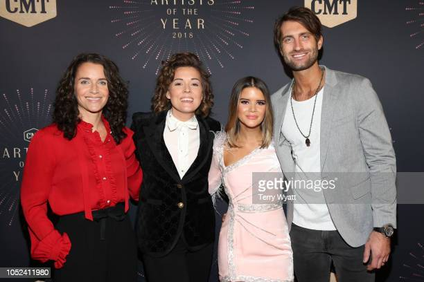 Catherine Shepherd Brandi Carlile Maren Morris and Ryan Hurd attend the 2018 CMT Artists of The Year at Schermerhorn Symphony Center on October 17...