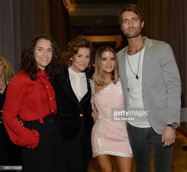 Catherine Shepherd Brandi Carlile Maren Morris and Ryan Hurd pose during the 2018 CMT Artists of The Year at Schermerhorn Symphony Center on October...