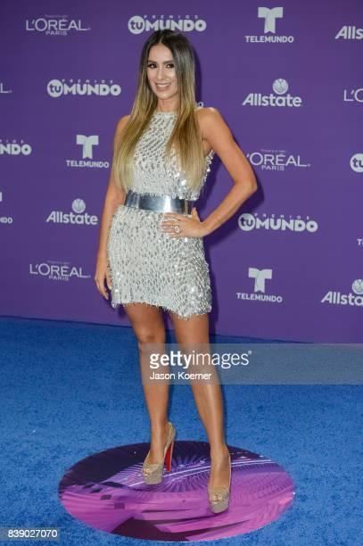 Catherine Siachoque arrives at Telemundo's 2017 'Premios Tu Mundo' at American Airlines Arena on August 24 2017 in Miami Florida