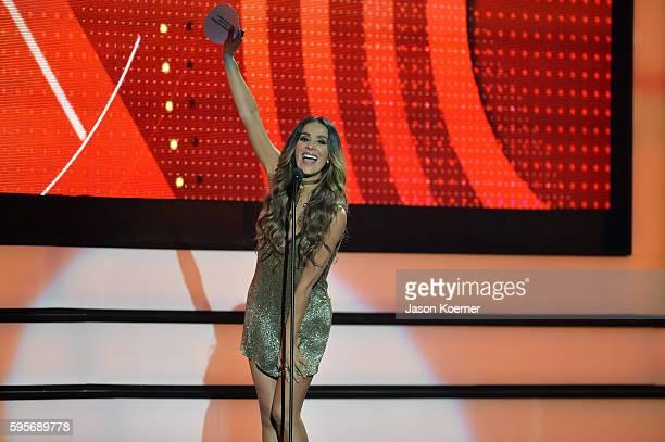 Catherine Siachoque onstage at Telemundo's Premios Tu Mundo Your World Awards at American Airlines Arena on August 25 2016 in Miami Florida