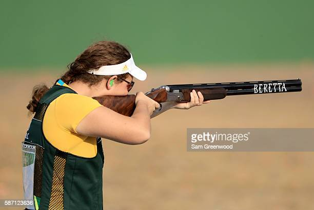 Catherine Skinner of Australia competes in the Womens Trap event during the shooting competition on Day 2 of the Rio 2016 Olympic Games at the...