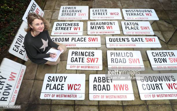 Catherine Southon lists some of 260 London street signs before before they go up for an online auction next month at Catherine Southon Auctioneers...
