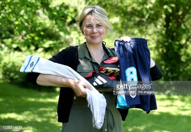 Catherine Southon of Catherine Southon Auctioneers in Chislehurst, Kent, holds pieces of Paul Gascoigne's football kit from Euro '96 Football...